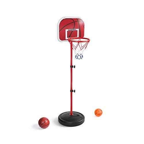 LANJU ミニ バスケットゴール バスケットボールセット 子供用 バスボールスタンド 高さ調節可能 二つボール付き 室内屋外兼用 (170CM)