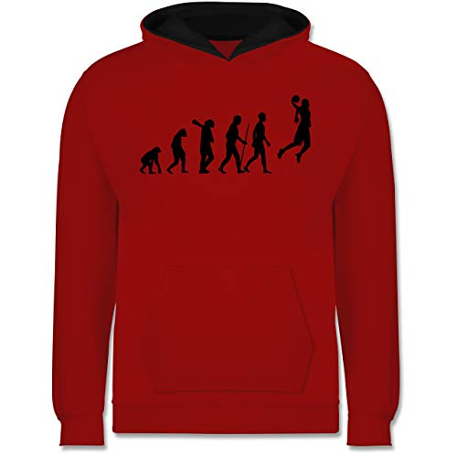 Shirtracer Evolution Kind - Basketball Evolution - 140 (9/11 Jahre) - Rot/Schwarz - Hoodie 152 - JH003K - Kinder Kontrast Hoodie
