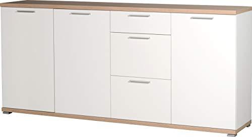 Germania 3202-178 Sideboard GW-Top in Weiß/Absetzung Sonoma-Eiche-Nachbildung, 192 x 88 x 40 cm (BxHxT)