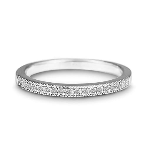 Devin Rose Rhodium Plated Sterling Silver 1/10 Cttw Diamond Wedding Band Ring for Women (Color...
