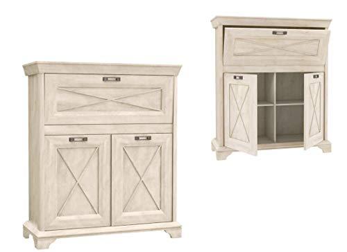 Furniture24 Kommode Kashmir KSMK43, Wohnzimmerschrank, Highboard, Barschrank, Barkommode mit 1 Klapptür und 2 Drehtür (Pinie Weiß)