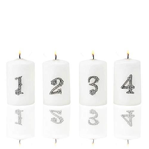 1 2 3 4 Adventsdekoration, Metall- Strass- Kristall Zahlen zum dekorieren von Kerzen (Adventskranz), Gestecken oder weihnachtlichen Dekorationen. Kerzenstecker, Kerzen- Pin …
