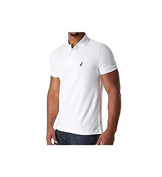 Nautica Men s Short Sleeve Solid Cotton Pique Polo Shirt Bright White Small