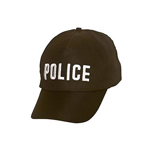 Adult Unisex Black Police Cap Uniform Fancy Dress Hat