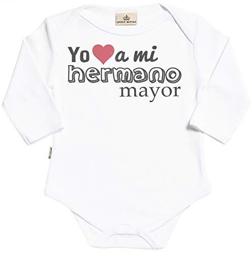 Spoilt Rotten SR - Estuche de presentación - Yo (Heart Shape) a mi Hermano Mayor Body para bebé niño - Body para bebé niña - Conjunto Regalo del bebé - Negro