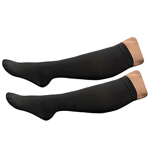 HealthyNees Closed Toe Extra Big Wide Calf Plus 20-30 mmHg Compression Leg Sock, Black, Extra Wide Calf 5XL
