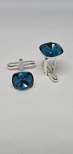 Gemelos cuadrados de plata con cristales Swarovski