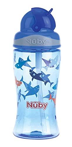 Nûby NV0414022BLUE– Borraccia per bambini in Tritan con cannuccia in silicone antigoccia – 360 ml – per la scuola e lo sport - 3 anni blu