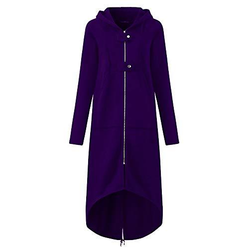 Auifor vrouwen werken met capuchon jas lange mouwen lange vaste mantel met tas