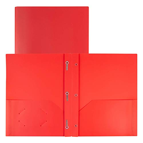 Dunwell Folders with Pockets and Prongs - (2 Pack, Red) 2-Pocket Plastic File Folder with Prongs, 2-Pocket Folder for School with Fasteners, Heavy Duty Plastic Kids School Folders, Includes Labels