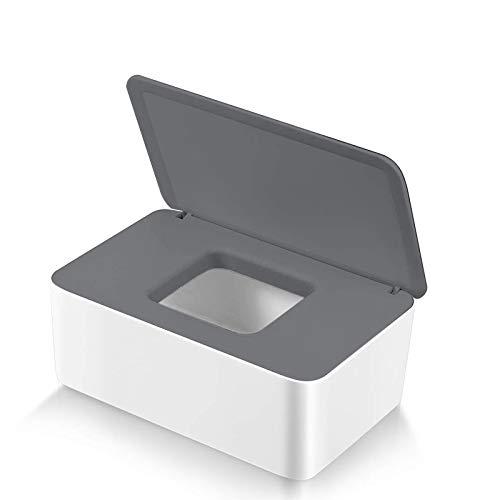 Feuchttücher-Box,Toilettenpapier Box,Kunststoff Feuchttücher Spender,Baby Feuchttücherbox,Baby Tücher Fall,Tissue Aufbewahrungskoffer,Taschentuchhalter,Tücherbox,Serviettenbox Grauer weiße Box
