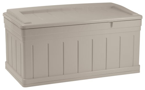 Suncast 129Gallon Large Deck Box  Lightweight Resin Indoor/Outdoor Storage Container and Seat for Patio Cushions and Gardening Tools  Store Items on Patio Garage Yard  Taupe