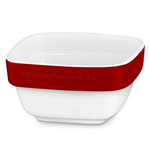 KitchenAid Auflaufform, Keramik, weiß/rot, 10x10x5 cm