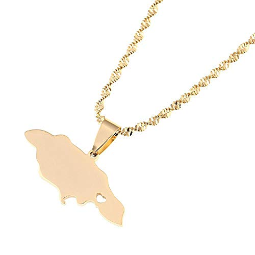 Acero inoxidable Jamaica Mapa Collares pendientes Corazón Jamaica Charm Charm Jewelry-Gold color
