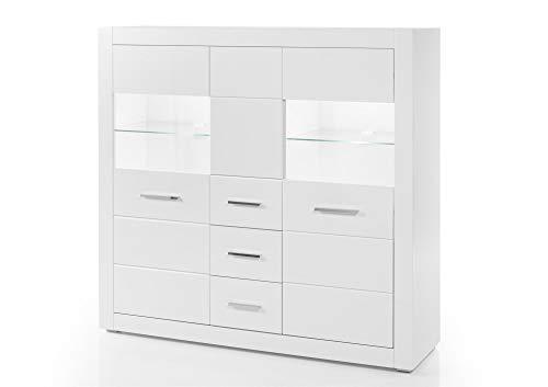 Design-Wohngalerie Highboard Bianco III - Korpus Weiß Mattlack/Front MDF Weiß Hochglanz