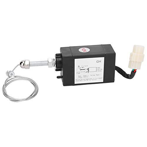 Válvula solenoide de parada del motor, control de servomotor de alambre de acero y plástico Válvula solenoide de 12 V CC, suministros industriales para control de parada del motor del