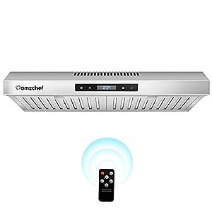 AMZCHEF Hotte Aspirante 60cm 220m³/h Hotte Murale Hotte de Cuisine Tactile/Télécommande Filtre à Graisse Inox 3 Niveaux de Puissance Eclairage LED