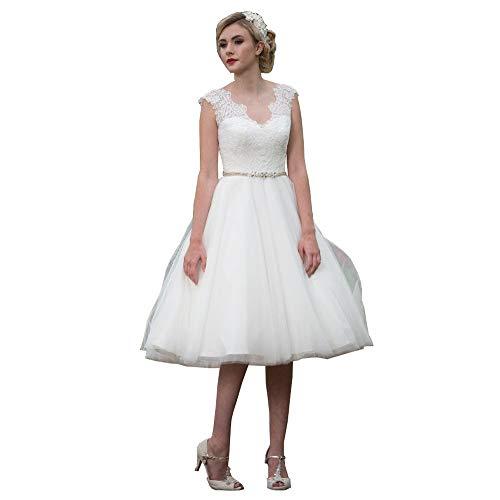 Nanger Damen Tüll Spitze Hochzeitskleider Kurz 1950S Vintage Brautkleider Strand Ballkleider Elfenbein 38