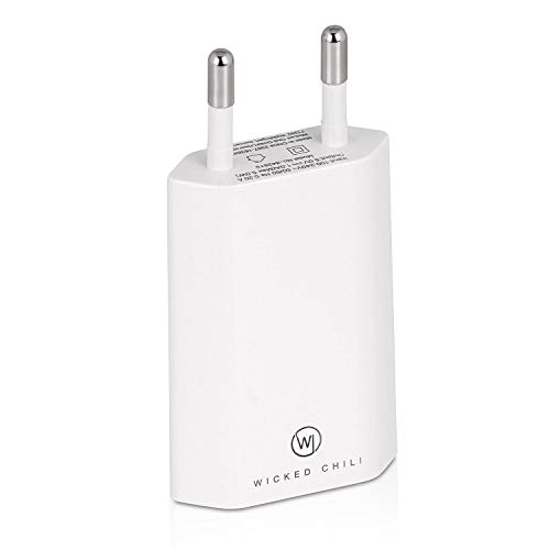 Wicked Chili Pro Series Netzteil - Ultra Slim - USB Adapter für Handy, Tablet, eBook Reader, Smartphone (1000 mA, 100-240V, weiß/White)