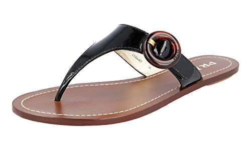 Prada Women's 1Y664D Black Leather Sandals US 6 / EU 36