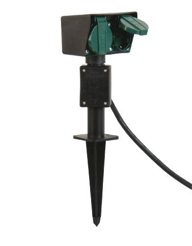 uniTEC 44202 Piquet de jardin avec prise double, câble 1,5 m