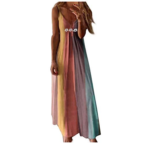 Vestidos Maxi Floral para Mujer Casual Playa Largos Boho Floral Maxi Vestido Bohemio con Tirantes Tirantes Playa Verano