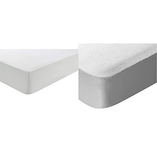 Pikolin Home - Funda de colchón de Punto antiácaros, Transpirable. 90x190/200cm + Home - Protector de colchón en Rizo algodón, Impermeable y Transpirable, 90x190/200cm-Cama 90 (Todas Las Medidas)