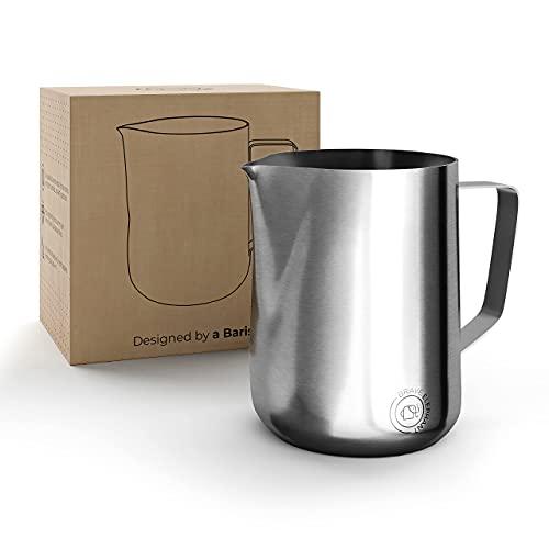 BRAVE ELEPHANT® Milchkännchen Edelstahl 350ml [Silver] - Rostfreie Milchkanne Edelstahl für Latte Art - Barista Milchkännchen - Innovatives Milchschaumkännchen – Aufschäumkännchen für Barista