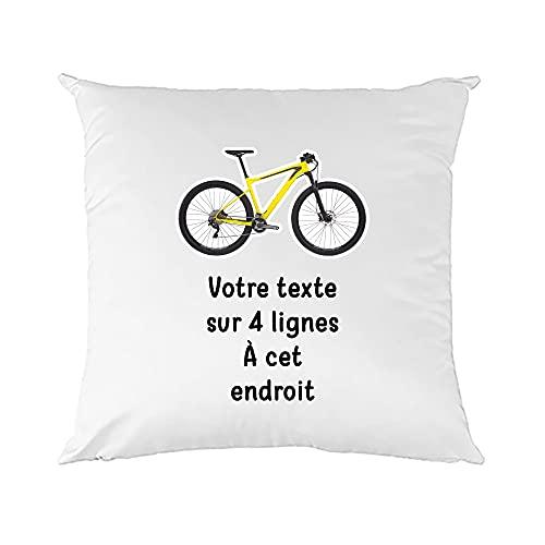 Mygoodprice - Funda de cojín bicolor Pictograma para bicicleta de montaña con texto personalizable, 40 x 40 cm, varios colores disponibles