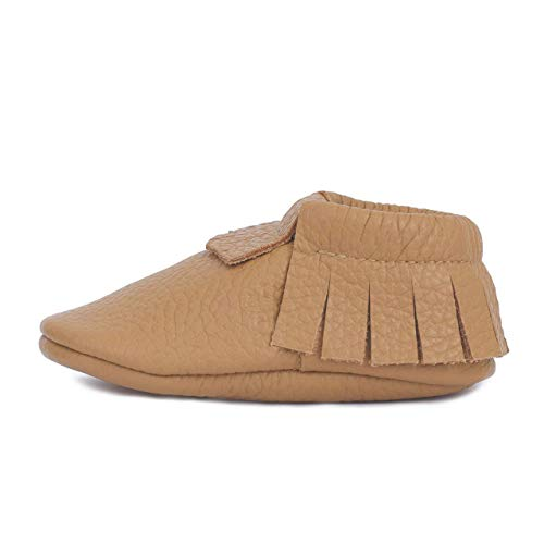 Little bee mocs ( Italian Leather Baby Moccasins Soft Sole Baby Shoes Newborns, Infants & Toddlers - Handmade Genuine Leather Baby Moccasins Fringes Boys & Girls (1.5, Cappuccino)