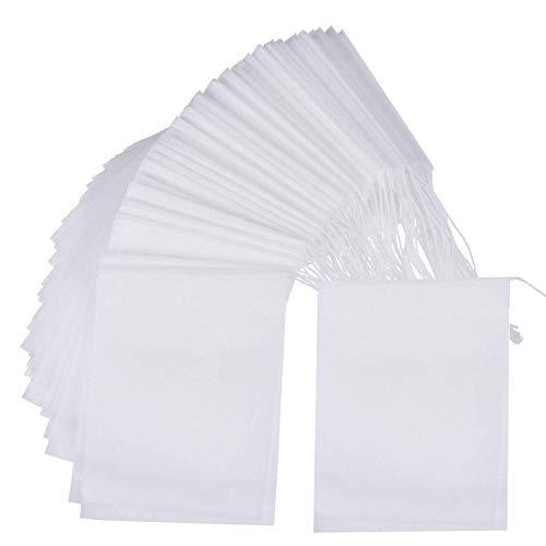 LABOTA 500pcs Bolsas de filtro de te con cierre de cordon Bolsas de Te Desechables Bolsas de Filtro para Te de Hojas Sueltas 8 * 10cm
