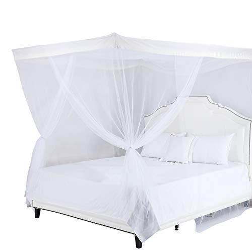 Cotton Loft Four Post Hanging Sheer Mosquito Canopy for Twin, Full, Queen or King Beds-Girl's Princess Room, Adult's Romantic Oasis, Kid's Playroom, White, 27' x 27'