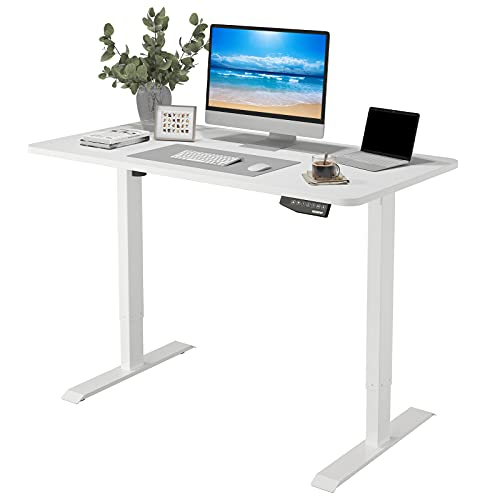 Flexispot EN1 Electric White Stand Up Desk Workstation with 48 x 30 Inches Whole-Piece Desktop Ergonomic Memory Controller Adjustable Height Standing Desk Primo(White Frame + 48' White Desktop)