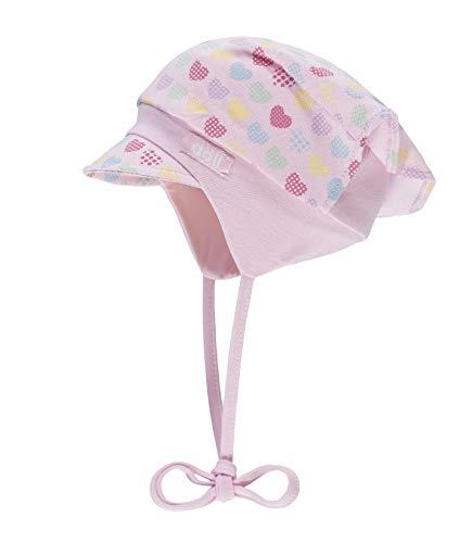 Döll Baby-Mädchen Kopftuchmütze mit Schirm zum Binden Sonnenhut, Rosa (Pink Lady|Rose 2720), 45