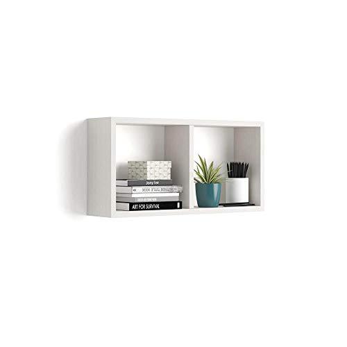 MOBILI FIVER, Estante en Forma de Cubo, Modelo First, de MDF, Color Blanco Ceniza, 59 x 14,5 x 30 cm