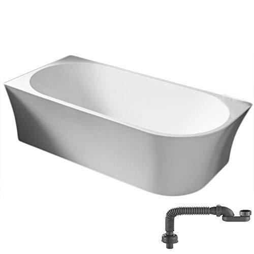 Freistehende Raumsparbadewanne NOVA CORNER Acryl Weiß - Einbau links - 170 x 78 cm- Inkl. Siphon, Farbe:Weiß Glänzend