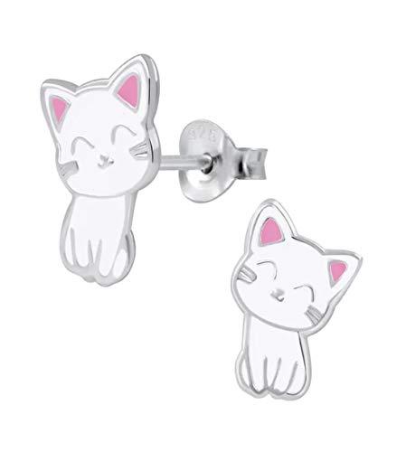 La Rosa Princesa - Kawaii Katze Ohrstecker Mädchen 925 Sterling Silber Katzen Ohrringe