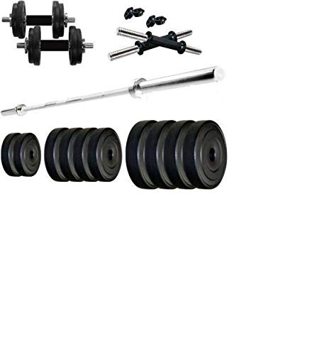 SG FITNESS 10KG Home Gym Combo of PVC Dumbbell Plate Set with 3Ft Straight Rod (Weight 3KG X 2,2KGX2-10KG)