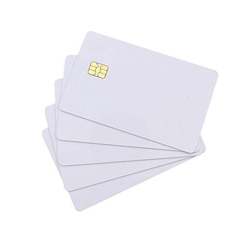 Waizmann.IDeaS® Plastikkarten Blankokarten Chipkarte SLE 4428 aus PVC weiß 86 x 54 x 0,76mm CR80 glänzend laminiert bedruckbar weiß