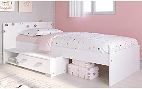 expendio Jugendbett Galeno 16A Weiß 90x200 Stauraumbett Jugendzimmer Kinderzimmer Bett Bettgestell