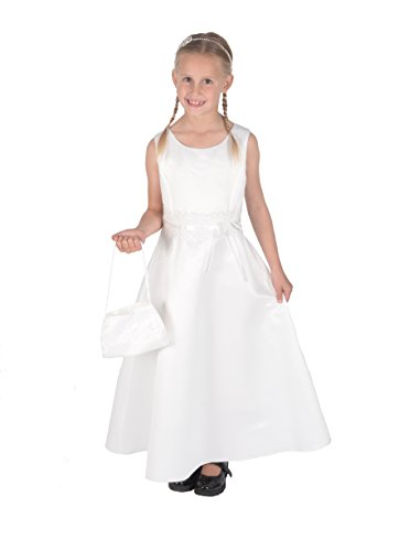 Cinda Satin Heilige Kommunion Kleid Brautjungfer Kleid mit Handtasche 152-158 Elfenbein
