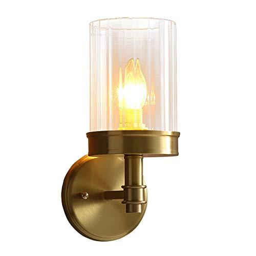 Yaione Lámparas de pared para baño Lámparas de pared Lámpara de pared para niños Ikea Tubo largo Pantalla de vidrio Accesorios de iluminación de base redonda Luces a prueba de explosiones Oro 1 Luz Ap