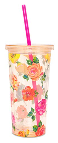 sip tumbler with straws Ban.do Floral Sip Sip Insulated Tumbler with Reusable Straw, 20 Ounce Travel Cup, Coming Up Roses