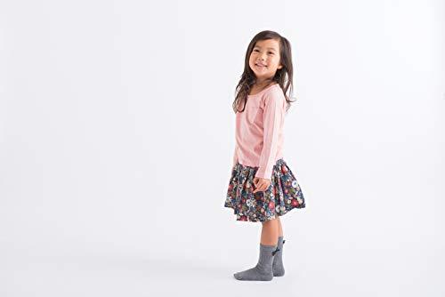 Filloie フィロワ 3足組子供靴下クルー丈 リボン付き 9cm - 14cm スベリ止め付 GY [0058]