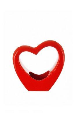Homestreet Vases Vaso di porcellana lucido a forma di piccolo cuore, oggetto ornamentale disponibile nei colori: rosso, nero o bianco, di alta qualità, Porcellana, rosso