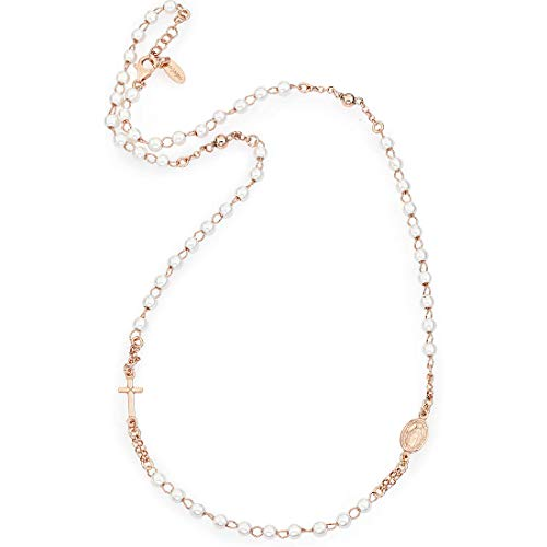 Amen Collana In Argento 925 Collezione Rosari - Colore Rosè - Misura Unica Rosario Girocollo Perle