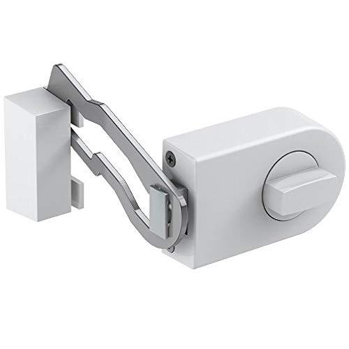 Secureo Tür-Zusatzschloss mit Sperrbügel KS 500R weiß | für nach Innen öffnende Türen | mit Drehknauf | Dornmaße 60 mm | DIN-links & DIN-rechts