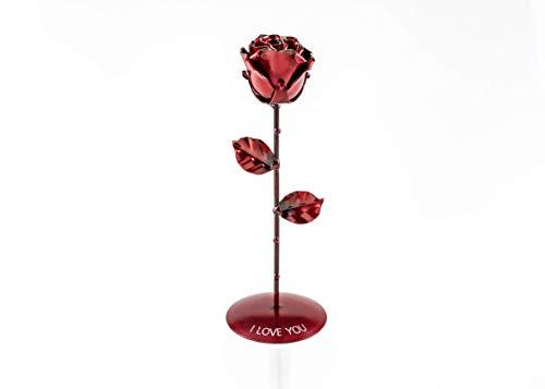Rosa Eterna Roja de Hierro Forjado con Grabado Personalizado