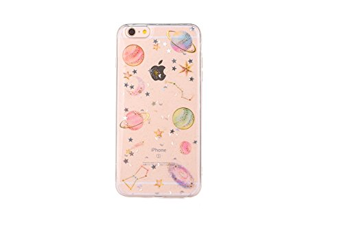 CrazyLemon Hülle für iPhone 6 Plus/iPhone 6S Plus, 3D Prägung Bunt Bling Glänzend Star Planet Weltraum Konstellation Design Weich Slim Silikon Hülle TPU Schutzhülle für iPhone 6 Plus 6S Plus - Clear