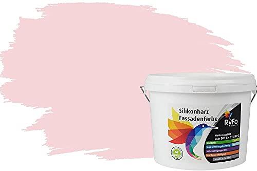 RyFo Colors Silikonharz Fassadenfarbe Lotuseffekt Trend Pastellrosa 3l - bunte Fassadenfarbe, weitere Violett Farbtöne und Größen erhältlich, Deckkraft Klasse 1